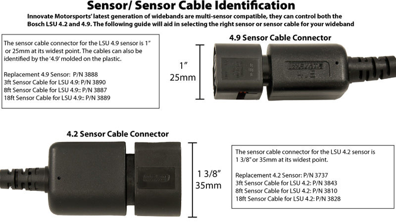 3 ft sensor cable for use with Bosch LSU 4.9 O² Sensor - P/N: 3890